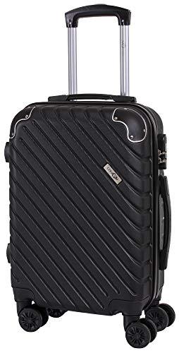 CABIN GO MAX 5510 Valigia Trolley ABS, bagaglio a mano 55x37x20, Valigia rigida, guscio duro e antigraffio con 8 ruote, Ideale a bordo di Ryanair, Alitalia, Air Italy, easyJet, Lufthansa NERO