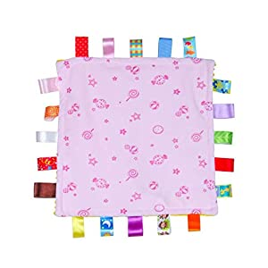 Baby Girl Pink Tag Security Blanket, Soft Taggie Blanket, Security Comforter with Colorful Tags Gift for Child Toddler Kid
