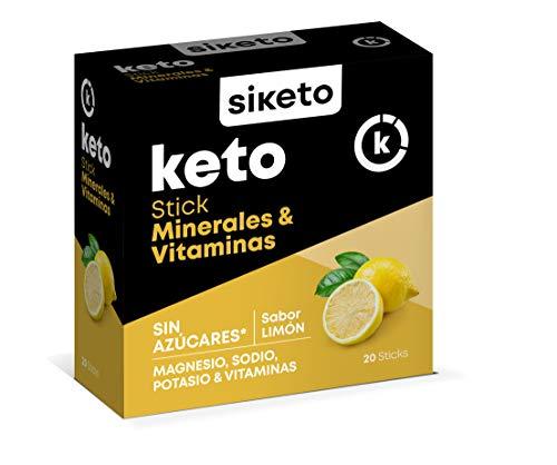 SIKETO - Minerales y vitaminas, Magnesio, sodio, potasio y vitaminas C, B1, B6, B12, Caja con 20 Sticks, Complemento alimenticio para dieta cetogénica (keto)