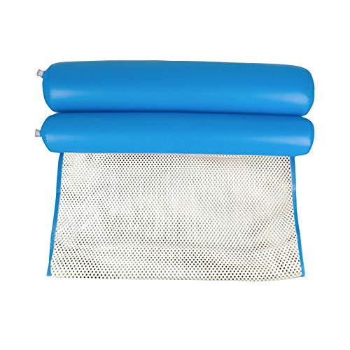 SAILORMJY Zwembad Opblaasbare Hangmat Drijvende Zwembaden, Water Oversized Drijvende Rij met Net Hangmat Strand Opvouwbare Rugleuning Luxe Opblaasbare Slaapbank Recliner Bed Blauw