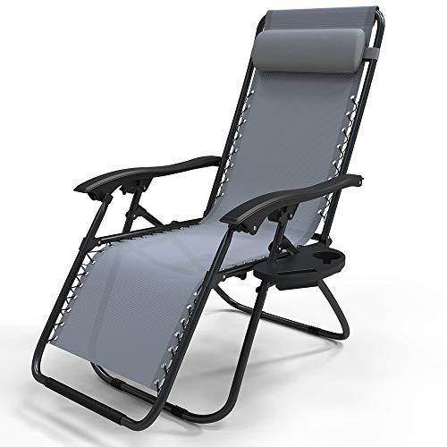 VOUNOT Zero Gravity Sun Loungers, with Cup Holder and Phone Hoder, Adjustable Textoline Reclining Garden Chairs, Grey
