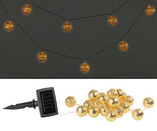 Guirlande lumineuse solaire à LED (blanc chaud) avec 20 boules dorées - 4 m [Lunartec]