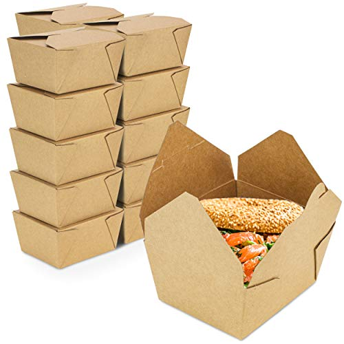[36 Pack] 30 oz 5 x 4.5 x 2.5 Disposable Paper Take Out Food Containers, Microwaveble Folding Natural Kraft to Go Boxes #1