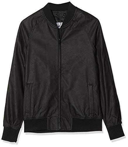Urban Classics Herren Imitation Leather Raglan Blouson Jacke, Schwarz (Black 7), Medium