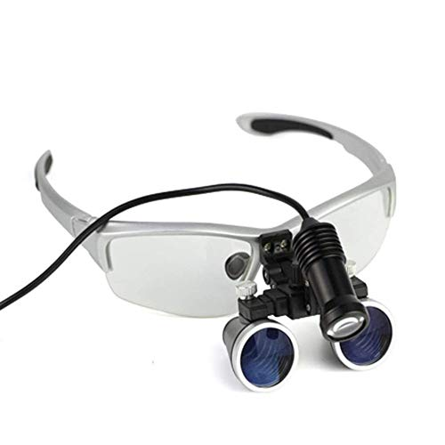 Aabbcdf Lupas Binoculares Quirúrgicas Dentales para Dentistas, Gafas De Ajuste Bidireccional Médicas, Anteojos De Lupa Binocular, Aumento 3.5X, Manos Libres - para Leer, Reparaciones, Coser,Plata