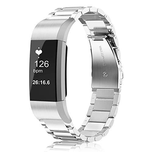 Fintie Cinturino Compatible con Fitbit Charge 2, Bracciale Wrist Strap Banda di Ricambio in Acciaio Inossidabile Banda, Argento