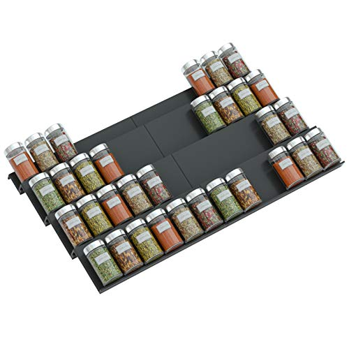 NIUBEE Adjustable Expandable Acrylic Spice Rack Tray - 4 Tier Spice Drawer Organizer for Kitchen Cabinets,2 Pack Black