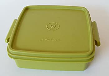 Tupperware Vintage Avocado Tupperware Square Away Quartet Container #1362 Sandwich Keeper with Lid