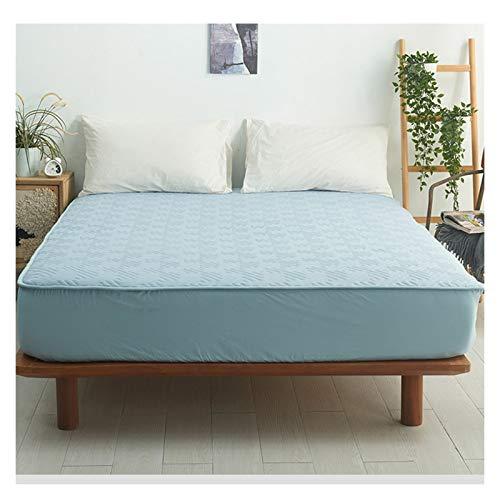 QIANGU Sängkläder Premium Cotton Bäddmadrassen Med Kjolar Andas Vadderad Sängöverkast Tvättas I Maskin För Sovrum Hotels (Color : Light blue, Size : 150x200+18cm)