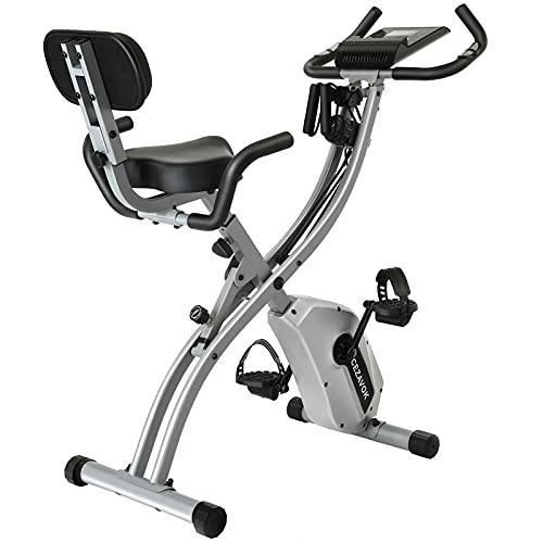 CEZAVOK Bicicleta Estática Magnética Bicicleta Fitness en Casa Plegable con Altura y Resistencia Magnética Ajustables con Pantalla LCD y Asiento con Respaldo