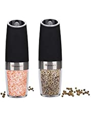 Electric Salt and Pepper Grinder Set, Automatic Gravity Activated Adjustable Coarseness One Hand Operation Pepper Grinders, Set of 2