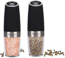 Electric Salt and Pepper Grinder Set, Automatic Gravity Activated Adjustable Coarseness One Hand Operation Pepper...