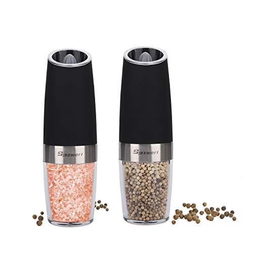 Gravity Salz und Pfeffermühlen Elektrische Set, Automatische Salzmühle Elektrische Einhändig Pfefferstreuer Elektrischer oder Salzstreuer Mit einstellbarer Grobheit Elektrische Pfeffermühle