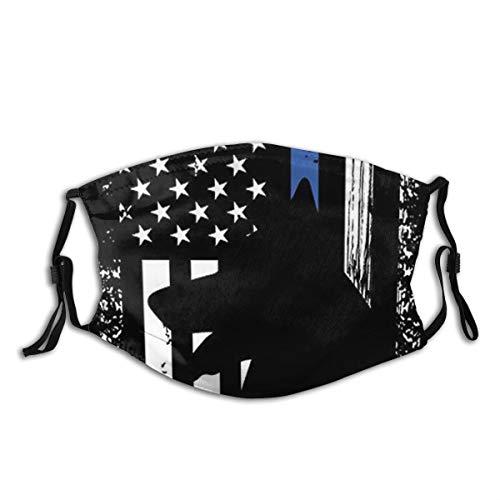 Leilei K9 Dog Police Officer German Shepherd Apparel Thin Blue Line Washable Cloth Face Mask Balaclava Reusable Outdoors Fashion for Unisex Men Women Outdoors