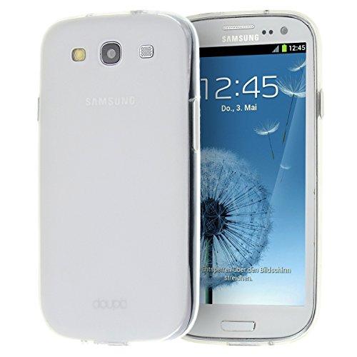 doupi PerfectFit TPU Custodia per Samsung Galaxy S3, Tappi di Polvere incorporatin Mat Trasparente Cover, Bianco
