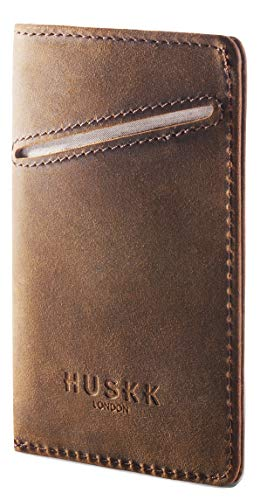 Portafoglio Con Tascha in pelle - Con Pelle Italiana - HUSKK - Fino a 8 Carte & contanti - [CSCB] - Black