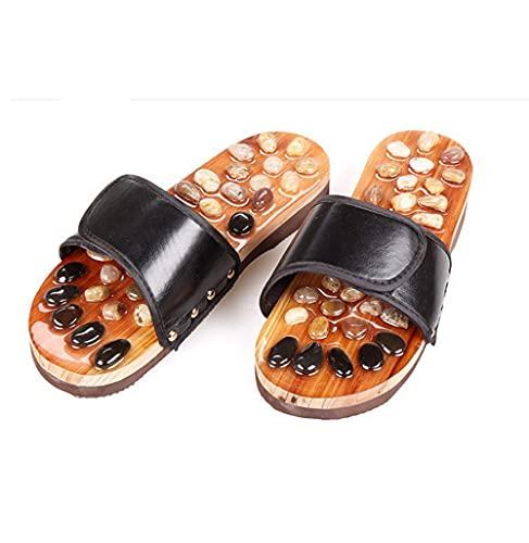 LLGG Ducha Zapatillas Antideslizantes,Zapatillas de Masaje de guijarros, Sandalias de Punta de acupuntura de pie-Negro_35,Zapatillas cómodas portátiles