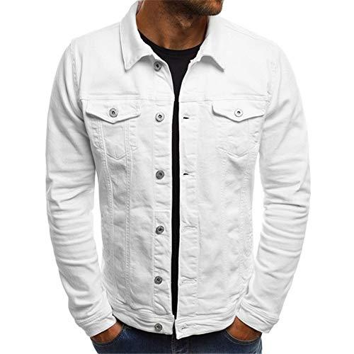 Chaqueta de mezclilla para hombre casual chaqueta clásica camionero estilo retro moda casual jeans abrigo abotonado Streetwear urbano estilo moderno invierno otoño Outwear, f-blanco., XXL