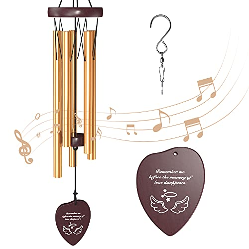 Kearui Wind Chimes Outdoor Deep Tone, Wind Chimes for Outside Gifts for Mom Birthday Gifts for Women, Memorial Wind Chime with 5 Aluminum Tubes Angel Wings Pendants for Garden Home Patio Décor