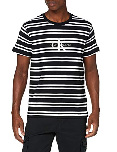 Calvin Klein Jeans Herren Striped Ck Center Logo Tee Hemd, Black, XXL