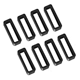 8 Pack 22mm Rubber Replacement Watch Band Strap Loops Silicone Watch Strap Keeper Retainer Holder Loop(Black)