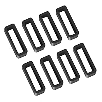 8 Pack 22mm Rubber Replacement Watch Band Strap Loops Silicone Watch Strap Keeper Retainer Holder Loop Black