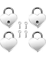 4 sets hartvormig slot Liefdeslot Hangslot mini hartvormig Heart Love-hangslot Sleutelhartvergrendeling voor feestgeschenk, decoratie, dagboekgeschenkdoos, bagage, handtas, dagboek, Valentijnsdag
