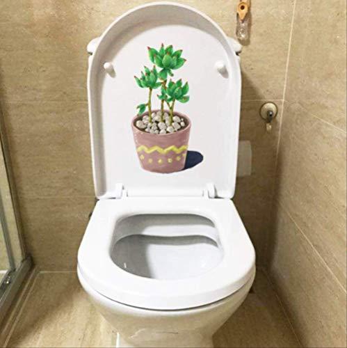 Rubberen sticker voor toilet, zoete vetplant, bloempot, cartoon-plant, badkamer, huisdecoratie, wandsticker, 13 x 23,8 cm