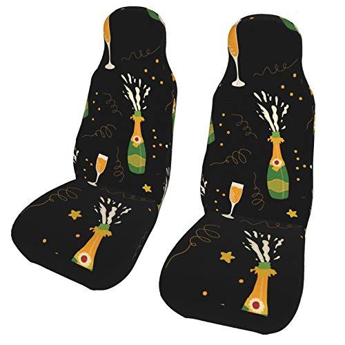 DOWNN Funda de asiento de coche universal con estampado en 3D, para botellas de champán y gafas, para coche, coche, camión, furgoneta, SUV, 2 unidades