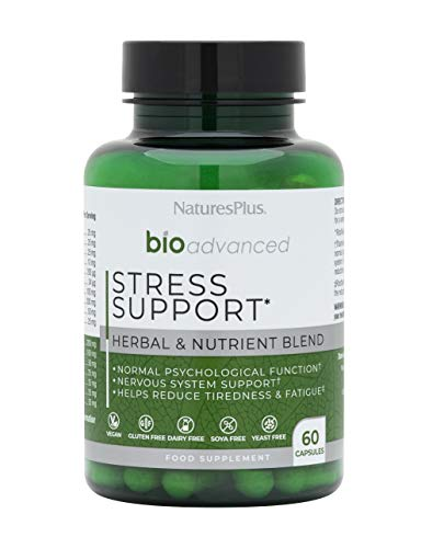 NaturesPlus BioAdvanced Stress Support – Psychological Support - Magnesium, Ashwagandha, Rhodiola, Siberian Ginseng and Methyl Bs – Dairy, Gluten, Yeast and SOYA Free - Vegan - 60 Capsules