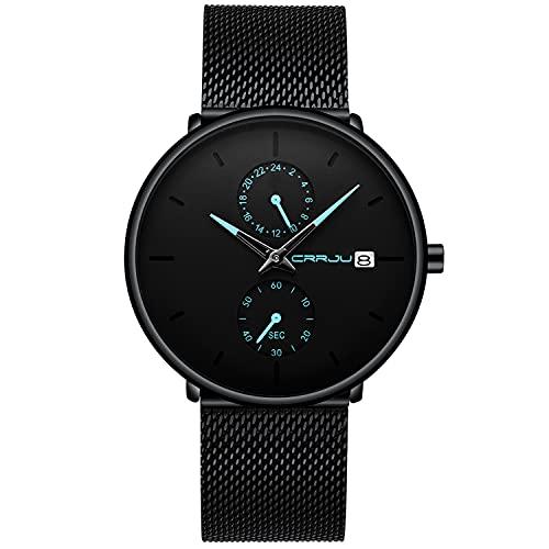 Reloj para Hombre, Relojes de Pulsera Impermeables de Acero Inoxidable ultrafinos de Cuarzo analógico Negro a la Moda Minimalista para Caballero