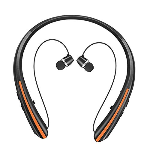 prasku Auriculares Estéreo Inalámbricos con Bluetooth para Auriculares con Micrófono Y Banda para El Cuello Sport - Naranja