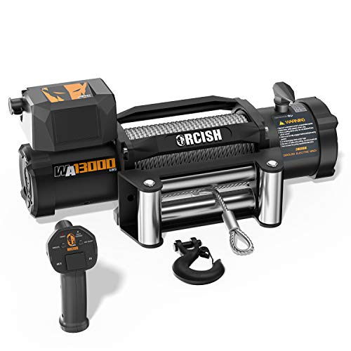 ORCISH New Upgrade WA Series 12V Electric Winch Steel Cable Winch Kits with Wireless Remote Control IP67 Waterproof Winch 13000lb Winch Load Capacity Fit for Jeep,SUV,Truck (B084M67KQT)