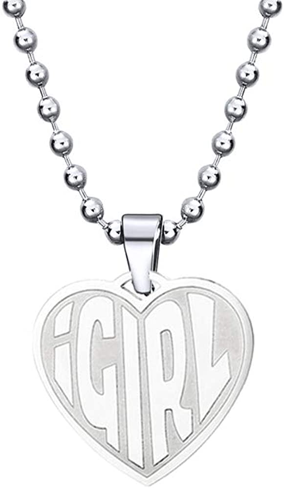 TAGOMEI Igirl Heart Stainless Steel Pendant Necklace Cute Punk Hiphop Heart Choker Retro Necklace