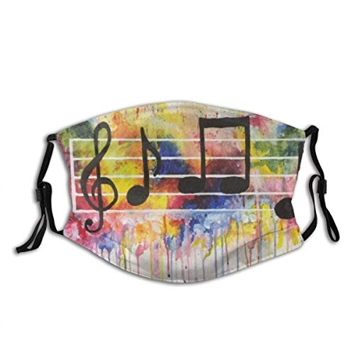 Face mask reusable Watercolor Music Notes Balaclava Unisex Reusable Windproof Anti-Dust Mouth Bandanas Outdoor Camping Motorcycle Running Neck Gaiter for Teen Men Women Made in USA