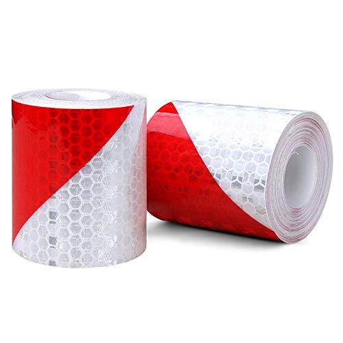 2 STÜCK EReflektierendes Band, Auto Reflektierendes Sicherheitsband Warnklebeband Aufkleber Rot Weiss Streifen für Anhänger, Reflektierende Warnhinweis-Aufklebebandaufkleber(5cm x3m