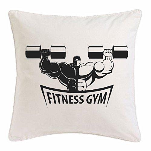 Reifen-Markt Kissenbezug 40x40cm Bodybuilder MIT KURZHANTEL Bodybuilding Gym KRAFTTRAINING FITNESSSTUDIO Muskelaufbau NAHRUNGSERGÄNZUNG Gewichtheben Bodybuilder aus Mikrofaser in Weiß