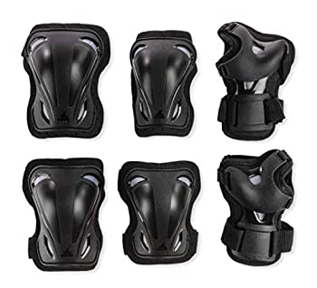 Rollerblade Skate Gear 3 Pack Protective Gear Knee Pads Elbow Pads and Wrist Guards Inline Skating Multi Sport Protection Unisex Black M
