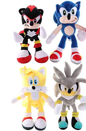 YUNDING Peluche Sonic 4 unids / Lote Nuevo Divertido Juguete de Peluche sónico de 28 cm Amy Rose Sonic-Shadow-Silver The Hedgehog Tails Knuckles The Echidna muñeco de Peluche Suave