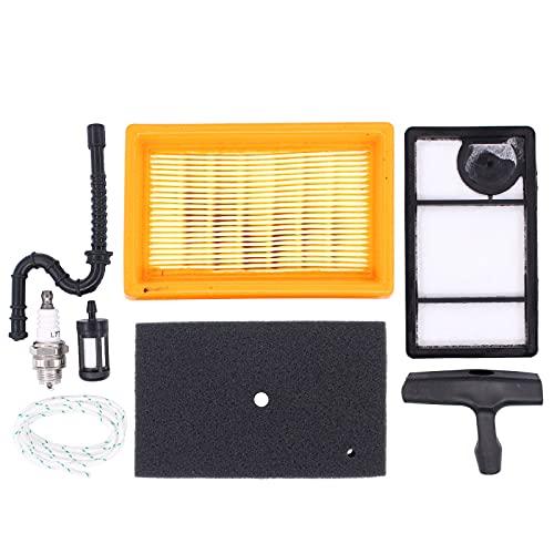 HouYeen Kit de servicio de filtro de aire y combustible para motosierra Stihl TS400 con bujía de combustible y mango de arranque 4223 141 0300, 4223 141 0600