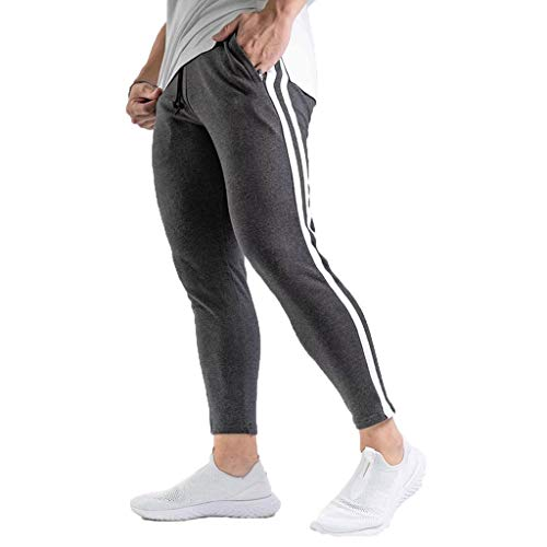 Meilily 7/8 Leggings Herren Hosen Stretch Sommer Slim fit Hose Fitnesshose Jogginghose Trainingshose Latzhose Sporthose Sweatpants Trekking Gym Jogger Freizeit Laufen Yoga Fitness Pants Schwarz Grau