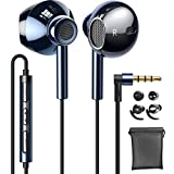 Linklike Quad Dynamic Drivers Air-flow Hi-Res Extra Bass Headphones Noise Isolating Wired Earbuds with Microphone, Lightweight Earphones with Volume Control 3.5mm Jack In-Ear Headphone (Sapphire Blue)