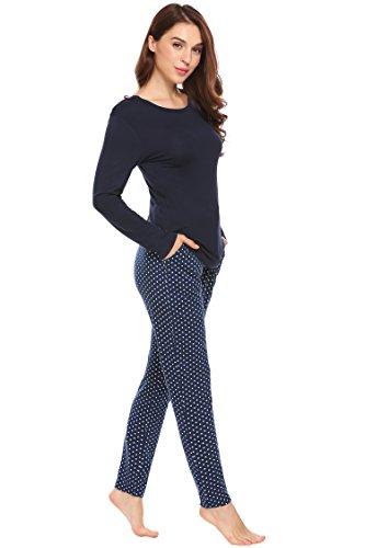 Untlet Damen Polka Dots Schlafanzug Blumendruck Pyjama Zweiteiliger Freizeitanzug Nachtwäsche Nachthemd Hausanzug Anzug Lang, Navy823, EU 42(Herstellergröße: XL)