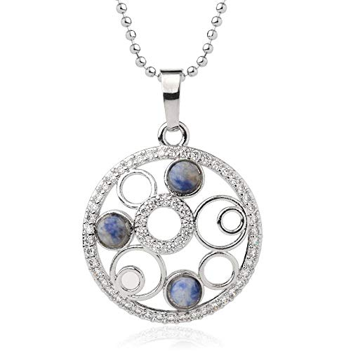 Necklace For Women,Vintage Punk Reiki 7 Chakra Natural Gem Blue Sodalite Stone 4Mm Tiny Micro Inlay Zircon Multi-Circle Round Hollow Pendant Necklaces With Silver Chain Christmas Party Gift For Wo