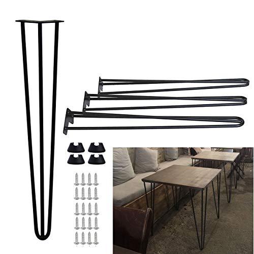 Dining Table Legs Metal Black Hairpin Leg 71cm 28 inch Pre-drilled Holes 10mm Heavy Duty Sturdy Steel 3 Rod, 4PCS