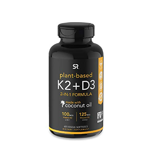 Vitamin K2 + D3 with Organic Virgin Coconut Oil | Vegan D3 (5000iu) with MK7 Vitamin K2 (100mcg) from Chickpea | Non-GMO & Vegan Certified (60 Veggie Softgels)