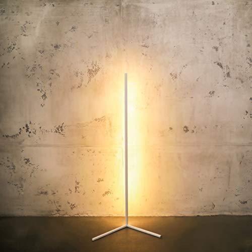 Minimal Lamp – Lámpara de pie LED regulable – Lámpara de esquina de diseño en blanco y negro – Lámpara de esquina – Elegante columna de luz con luz cálida para cada esquina (blanco)