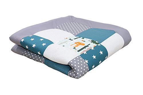 ULLENBOOM ® Baby Krabbeldecke 120x120 cm gepolstert Waldtiere Petrol (Made in EU) - Krabbeldecke für Baby mit 100% ÖkoTex Baumwolle, ideal als Babydecke & Spieldecke