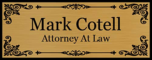 "Beautifully Engraved 8"" x 3"" Plaque, Plate, Name Plate, Door Name Plate, Name Badge in Gold with Black Engraving"