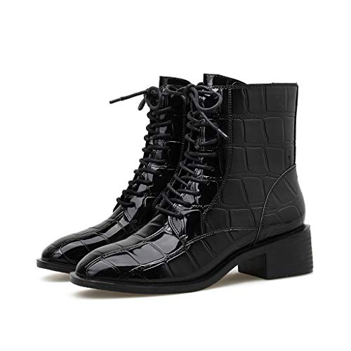 Buy Bargain Rakkiss Women Patent Leather Boots Casual Crocodile Pattern Square High Heel Boots Zippe...